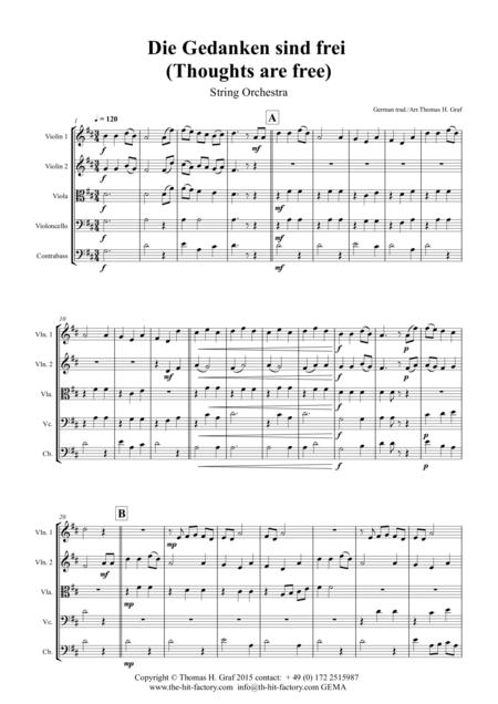Die Gedanken sind frei - (Thoughts are free) - German Folk Song  - String Orchestra