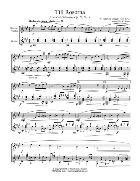 Till rosorna for flute or violin and guitar