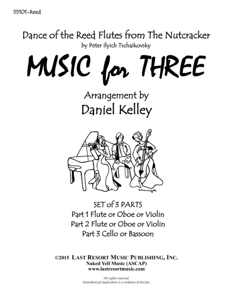 Dance of the Reed Flutes from the Nutcracker for String Trio (2 Violins, Cello) Set of 3 Parts