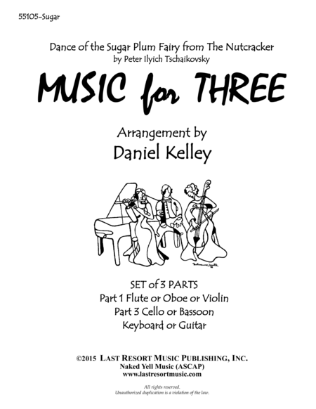 Dance of the Sugar Plum Fairy from The Nutcracker for Piano Trio (Violin, Cello, Piano) Set of 3 Parts