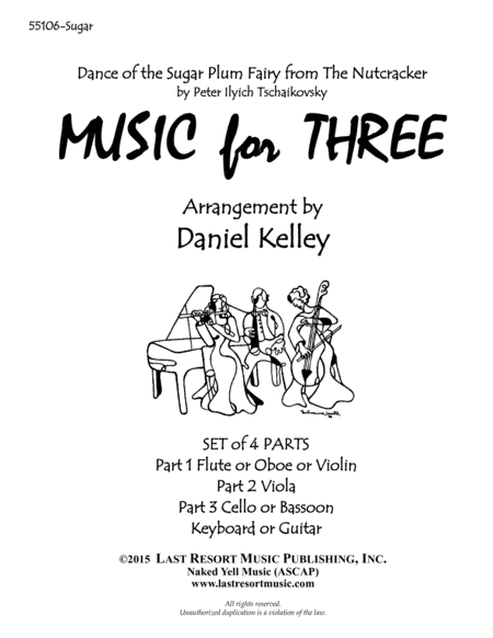 Dance of the Sugar Plum Fairy from The Nutcracker for Piano Quartet (Violin, Viola, Cello, Piano) Set of 4 Parts