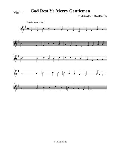 God Rest Ye Merry Gentlemen: violin/piano