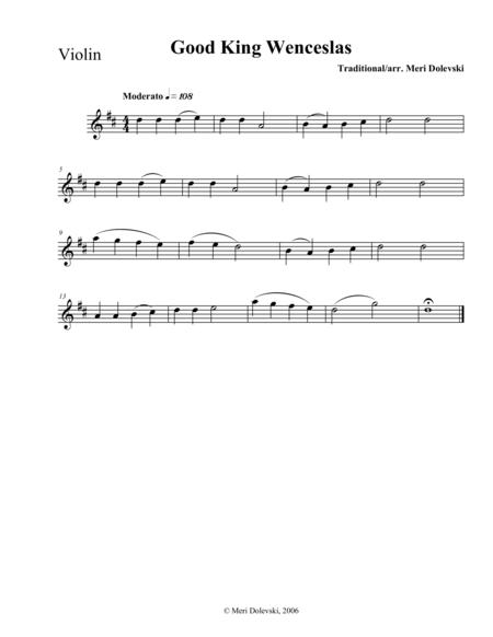 Good King Wenceslas: violin/piano