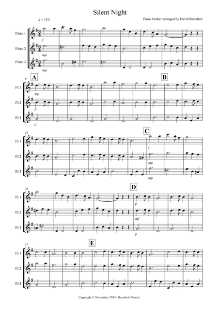 Silent Night for Flute Trio