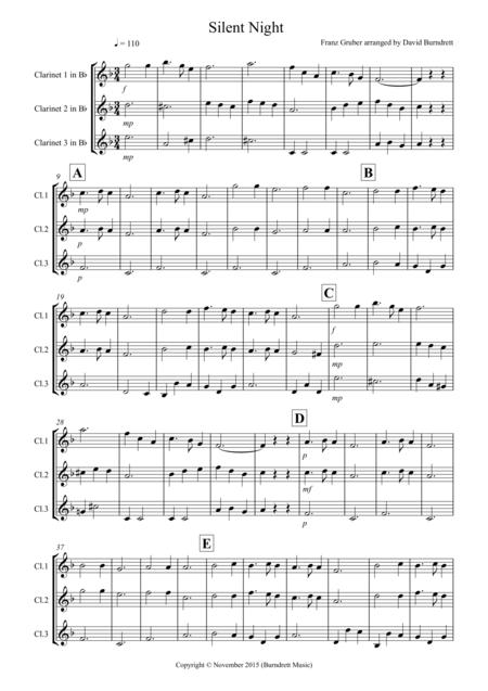 Silent Night for Clarinet Trio
