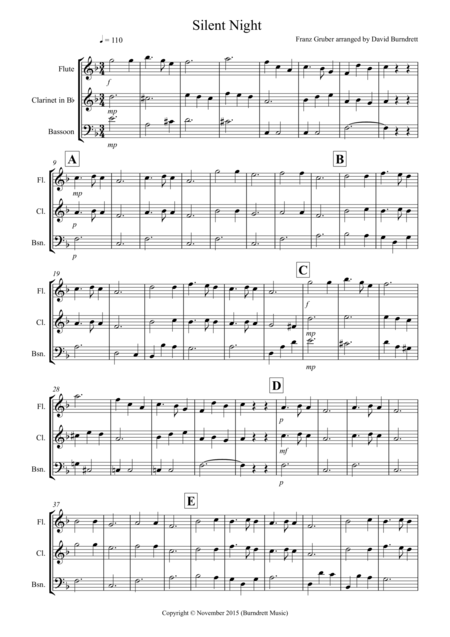 Silent Night for Wind Trio