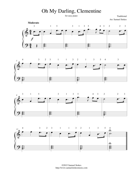 Oh My Darling, Clementine - for easy piano