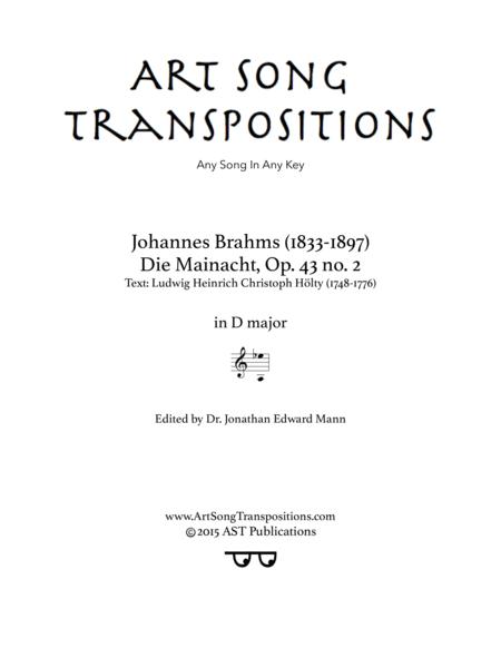 Die Mainacht, Op. 43 no. 2 (D major)