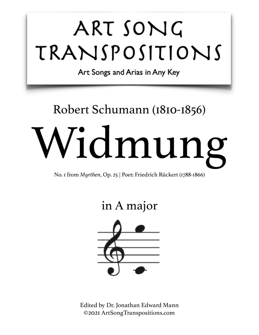 Widmung, Op. 25 no. 1 (A major)