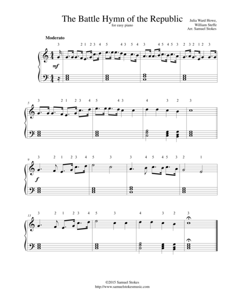 The Battle Hymn of the Republic - for easy piano