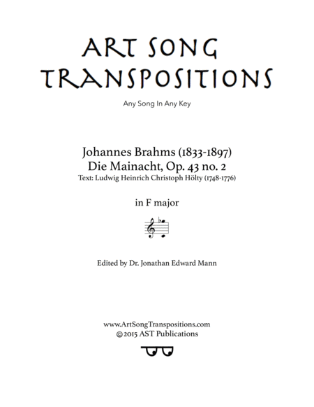 Die Mainacht, Op. 43 no. 2 (F major)