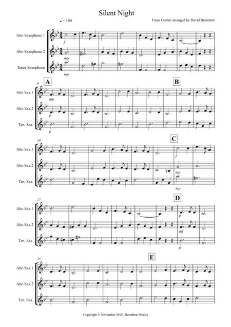 Silent Night for Saxophone Trio