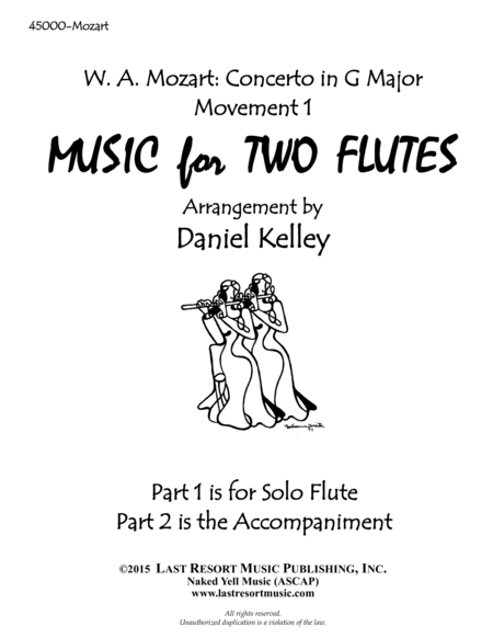 Concerto in G Major K. 313 by Mozart - arranged for Flute Duet (1st Movement)