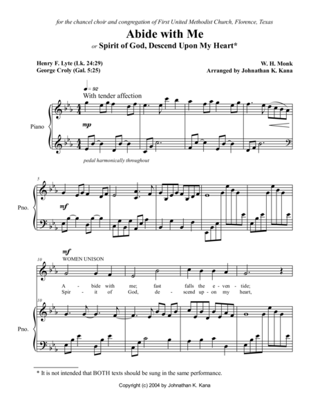 Abide with Me (or Spirit of God, Descend upon My Heart)
