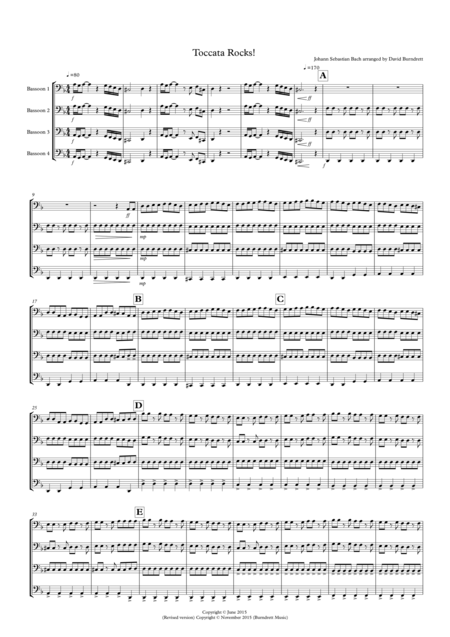 Toccata by Bach Rocks! for Bassoon Quartet
