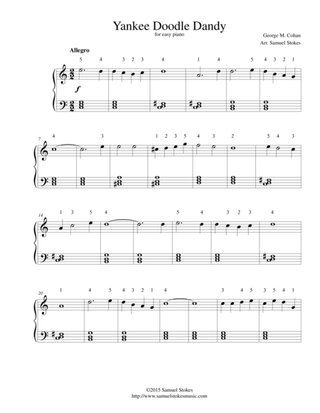 The Yankee Doodle Boy (Yankee Doodle Dandy) - for easy piano