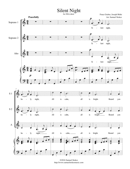Silent Night - for SSA choir with piano accompaniment