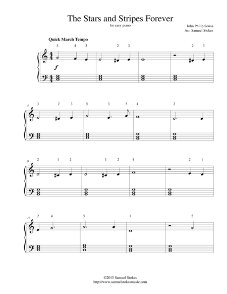 The Stars and Stripes Forever - for easy piano