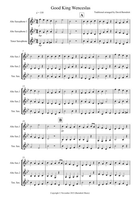 Good King Wenceslas for Saxophone Trio