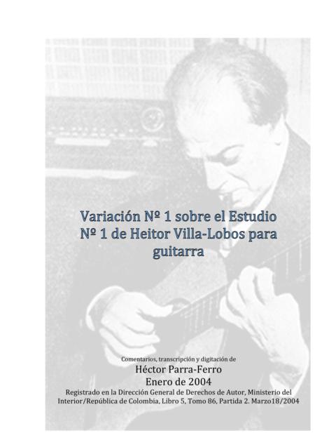 Variación Nº 1 sobre el estudio Nº 1 de Heitor Villa-Lobos para guitarra