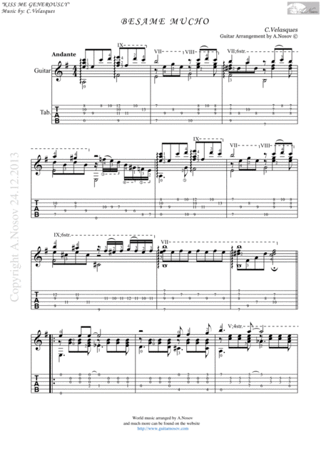 Besame Mucho (Sheet music for guitar)