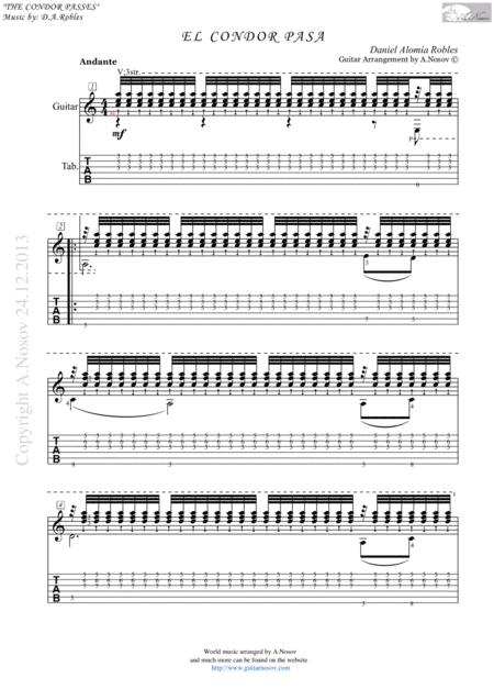 El Condor Pasa (Sheet music for guitar)
