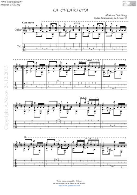 La Cucaracha (Mexiko) Sheet Music and Tabs for Classical Guitar