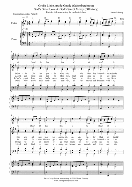 Offertory / Gabenbereitung in German & English, God's great love & God's sweet mercy / Große Liebe, große Gnade, for SATB & optional piano/guitar & flutes