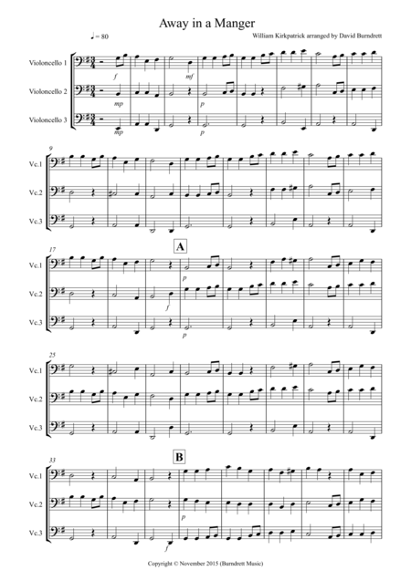 Away in a Manger for Cello Trio