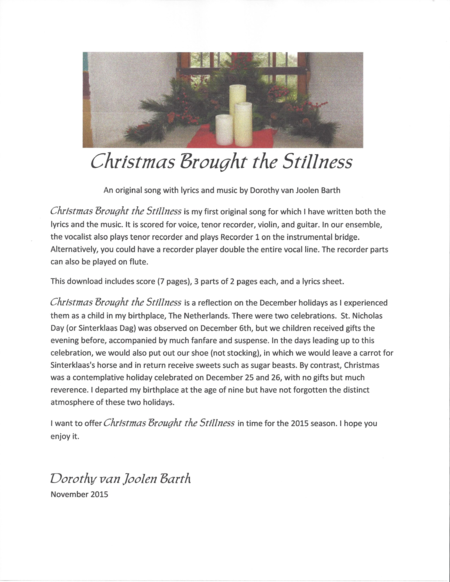 Christmas Brought the Stillness: Beautiful Song for Voice, Recorder, Violin, Guitar