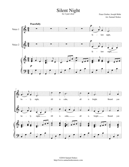 Silent Night - for 2-part choir with piano accompaniment
