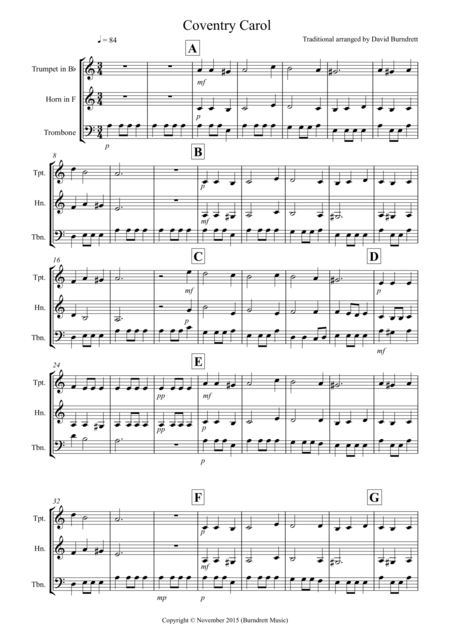 Coventry Carol for Brass Trio