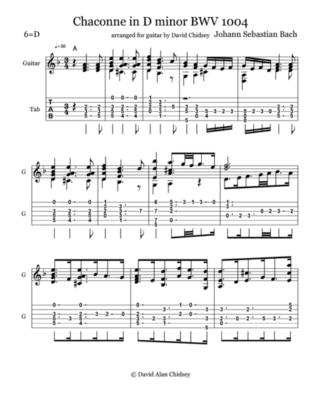 Chaconne BWV 1004 Arranged for Guitar
