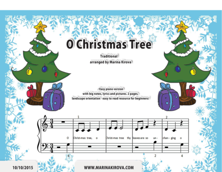O CHRISTMAS TREE easy piano with lyrics and big notes