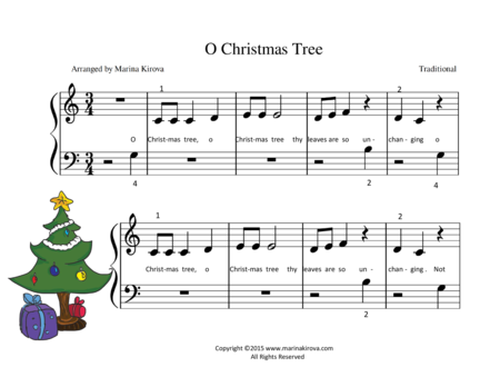 o christmas tree easy piano pdf