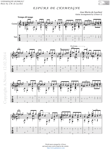 Espuma de Champagne (Sheet music for guitar)