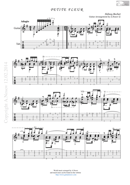 Petite Fleur (S.Bechet) Sheet Music and Tabs for Classical Guitar