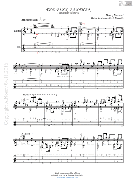 The Pink Panther (Sheet music for guitar)