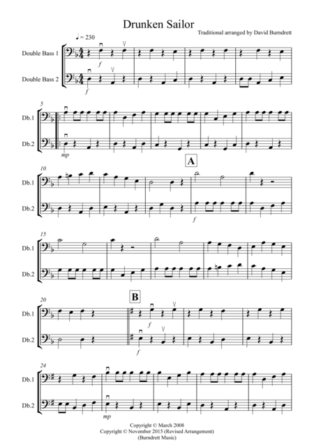 Drunken Sailor for Double Bass Duet