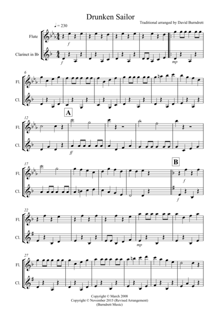 Drunken Sailor for Flute and Clarinet Duet