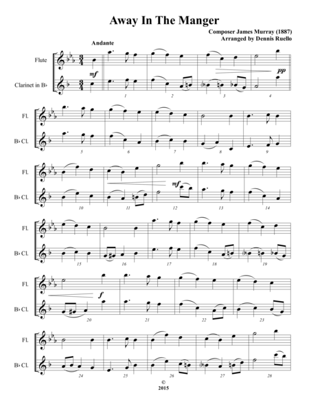 Away In The Manger / It Came Upon A Midnight Clear - Mixed Woodwind Duet (Flute and Clarinet) - Intermediate