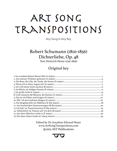 Dichterliebe, Op. 48 (Original key)