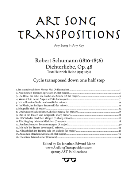 Dichterliebe, Op. 48 (Cycle transposed down one half step)