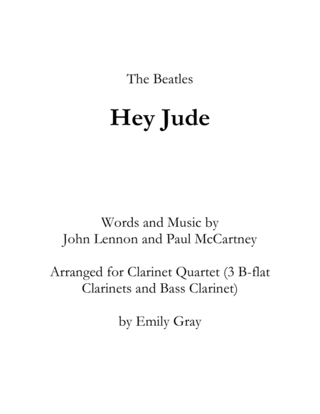 Hey Jude (Clarinet Quartet)