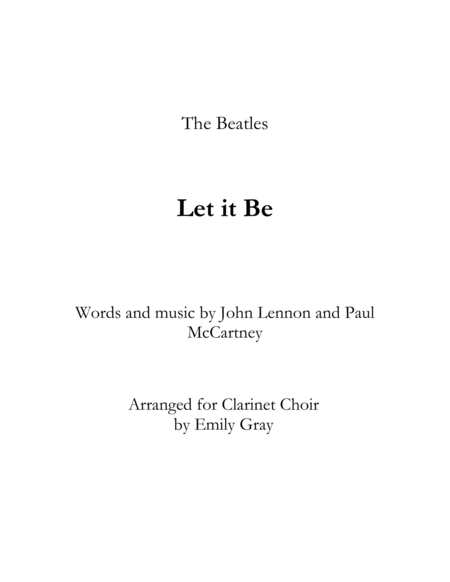 Let It Be (Clarinet Choir)
