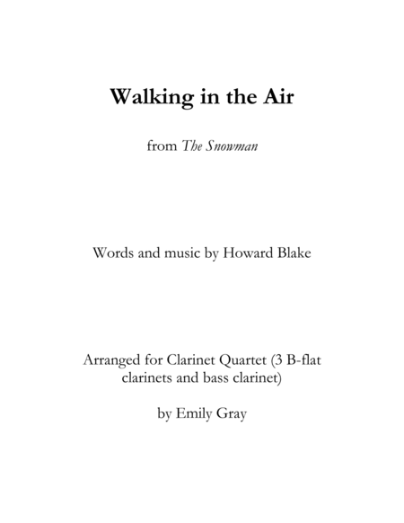 Walking in the Air (Clarinet Quartet)