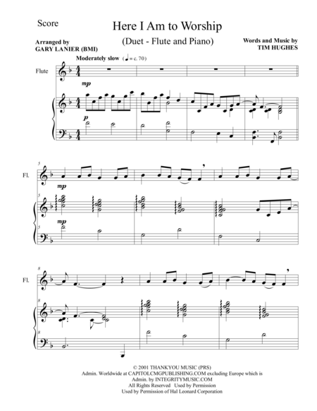 HERE I AM TO WORSHIP (Duet – Flute and Piano/Score and Parts)