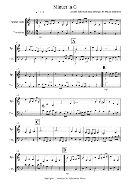 Minuet in G by Bach for Trumpet and Trombone Duet