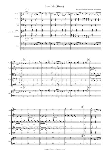 Swan Lake Theme for String Quartet