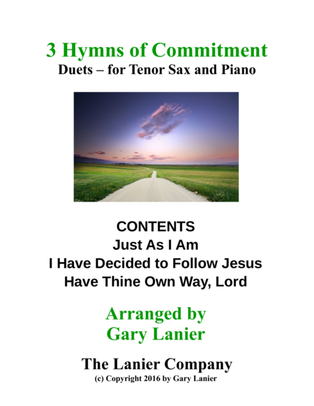 Gary Lanier: 3 HYMNS of COMMITMENT (Duets for Tenor Sax & Piano)